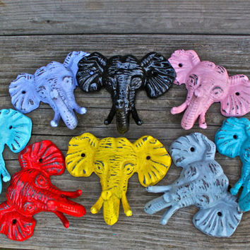 Bright Elephant Wall Hooks: PICK your Color by AquaXpressions