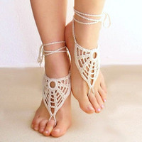Ivory barefoot sandals beige crochet nude shoes foot by Lasunka