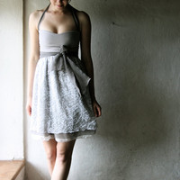 Lace party Dress grey silk chiffon halter mini by larimeloom