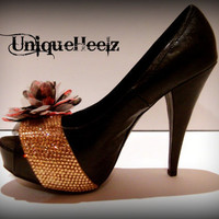 Swarovski Crystal  Black Leather Floral Heels  Size by UniqueHeelz