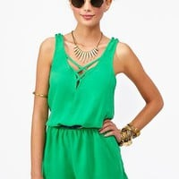 Lattice Romper in Green