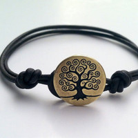 Tree of Life Brass Button Leather Bracelet by Jennasjewelrydesign
