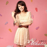Sweet pearl collar the Penghu sleeve Lace short ocean pre-order on fashion4us