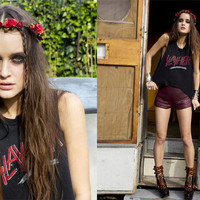 Andee Strapped Boot in Brown, Mulberry Rose Crown, Quilted Leather Shorts