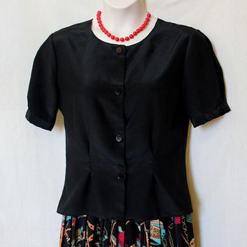 Black Vintage Blouse 90s Vtg Top Button Up Evening Shirt  XL 1X