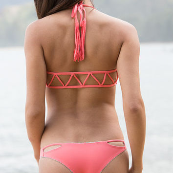 The Girl and The Water - Bettinis - Cut Out Reversible Bikini Bottom / Coral Desert - $75