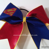 Superman Super Hero Cheer Bow Cheerleading