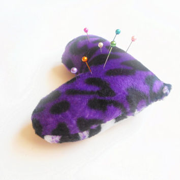 Purple Leopard Print Heart Shaped Pin Cushion, ready to ship.