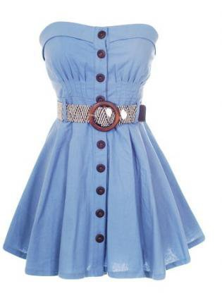 Blue Strapless Dress - Button Down Strapless Dress | UsTrendy
