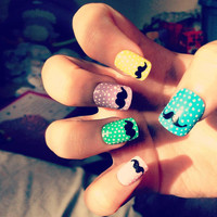 Moustache Nails by sophisticatedsilly on Etsy