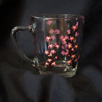 Delicate FlowersCoffee Mug - Hand Painted Glass Coffee Mug