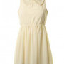 LOVE Cream Pearl Collar V Back Dress - Love