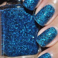 Sneeze Breeze Black and Blue Glitter Nail Polish by TheHungryAsian