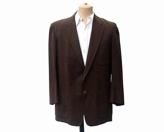 Vintage 50s Jacket Brown Fleck Plaid Sports by mysweetiepiepie