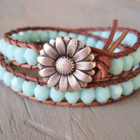 Boho leather double wrap bracelet Country Girl by slashKnots