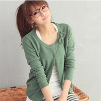 Leisure Single-breasted Bow Embellished Kniting Sweater Top Coat Green-Wholesale Women Fashion From Icanfashion.com