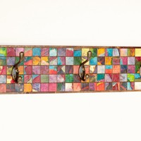 Wall Coat Rack Mosaic Handmade Paper Reclaimed Wood | Luulla