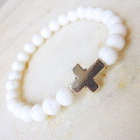 Sideways Cross Bracelet Stretch Bracelet Stackable White Coral Bracelet Stone | Luulla