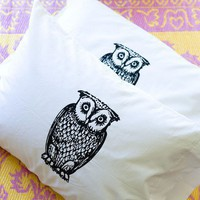 Owl Pillowcase Set White Bedding Room Decor by boygirltees on Etsy