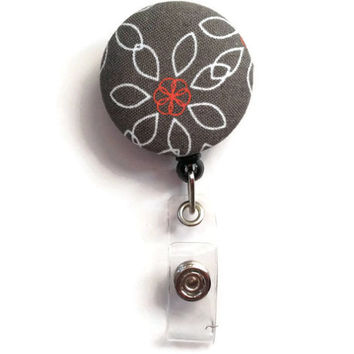 Fabric Covered Retractable Badge Reel Grey Red and White Floral Keychain Lanyard