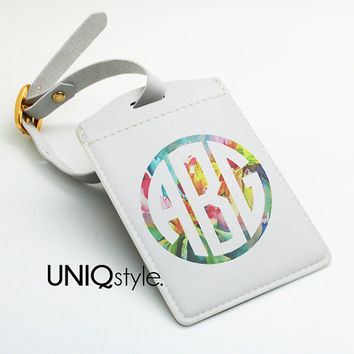 Monogram custom personalized pu leather Luggage Tag, OfficeTag, School bag tag, Travel BagTag with strap - DIY Party Tag - custom name - I40