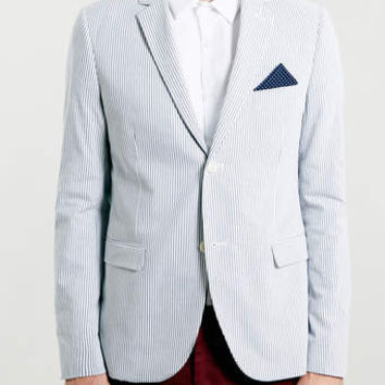 BLUE AND WHITE SEER SUCKER STRIPED BLAZER - Men's Blazers & Sports Coats - Clothing