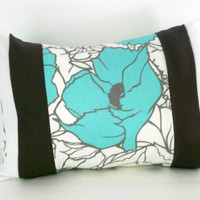 Teal Pillow Cover, Grey Pillow Bolster, Teal and Grey Pillow, 12 X 16 Inches, Teal Cushion Cover, Floral Accent Pillow, Teal Accent Pillow
