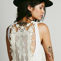 Eis Womens Elsa Long Lace Vest - Natural, One
