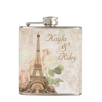 Paris Pink Rose Vintage Wedding Flask