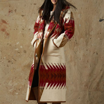 Pendleton ® Long Reversible Wool Coat, Banded Arrow