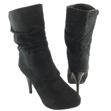 Womens' Ruched Mid Calf Faux Suede High Heel Winter Ankle Boots Black