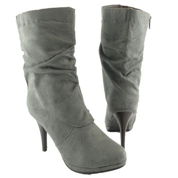 Womens' Ruched Mid Calf Faux Suede High Heel Winter Ankle Boots Gray