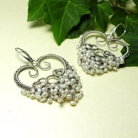 Bridal silver wire wrapped earrings white by MadeBySunflower