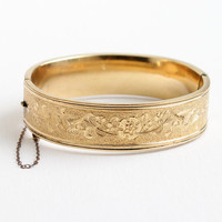 Vintage 12k Yellow Gold Filled Hinged Art Deco Flower Wide Bangle Bracelet - Antique Floral & Bird Hallmarked BB Co Bliss Brothers Jewelry