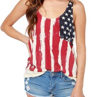 Pink Queen Women Red Sleeveless Flag Printed Tank Top Vest Tee