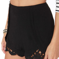 Beachfront Digs Black Lace Shorts