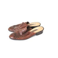 size 7 brown leather mules