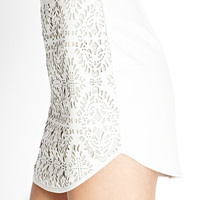 FOREVER 21 Laser Cut Faux Leather Skirt Cream