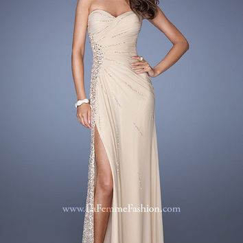 Sequined Net Jersey Gown by La Femme