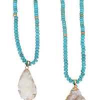 RACHEL TURQUOISE & HANDCUT DRUSY NECKLACE - 24K GOLD PLATED