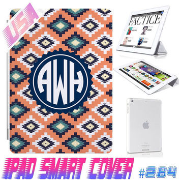 USA Custom Aztec Tribal Monogram @ IPad Air Smart Cover , IPad Mini Retina Smart Cover  IPad 4/3/2 Case Magnetic Sleep Wake Case  #284