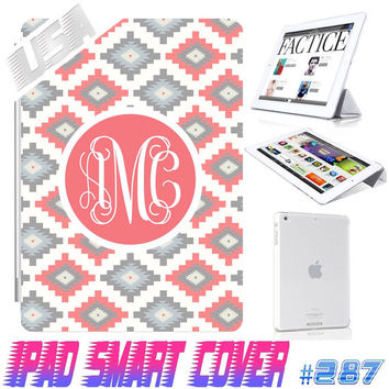 USA Custom Aztec Tribal Monogram @ IPad Air Smart Cover , IPad Mini Retina Smart Cover  IPad 4/3/2 Case Magnetic Sleep Wake Case  #287