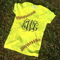 Glitter Monogram Softball Shirt