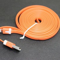 3M 10ft USB Flat Noodle Sync Cable with Wall Charger for iPhone 5 iPad 4 (Orange)