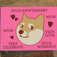"""Doge Card """"Such Anniversary"""" - Funny Anniversary Card, Cute Card, Shiba Inu, Shibe Doge, Shibe Card, Cute Dog Card, Animal Card"""