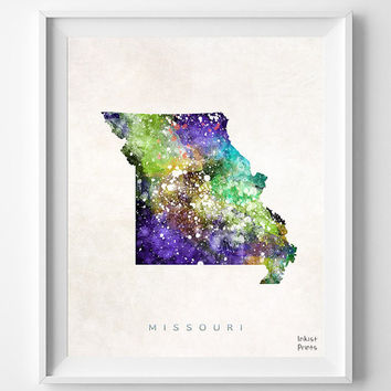 Missouri Map, Jefferson City Poster, Painting, Watercolor, Nursery, Room, Home Town, Wall Art, USA, States, America, Decor, Gift [NO 360]