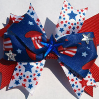 red white and blue  patriotic stars hair bow  by mylittlebows