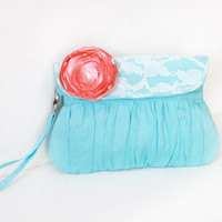 Bridesmaid clutch linen and lace aqua and coral satin flower, beach wedding, summer wedding clutch