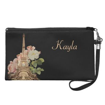 Paris Pink Rose Black Vintage Personlized Wristlet