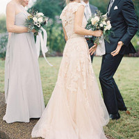 A line Nude Pink Cap Sleeves Tulle Lace Wedding Dresses/Wedding Gown/Bridal Dresses Gown/Custom/Cheap/New Fashion